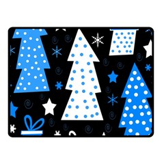 Blue Playful Xmas Fleece Blanket (small) by Valentinaart