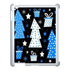 Blue Playful Xmas Apple Ipad 3/4 Case (white) by Valentinaart