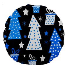 Blue Playful Xmas Large 18  Premium Round Cushions by Valentinaart
