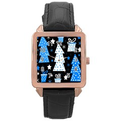 Blue Playful Xmas Rose Gold Leather Watch  by Valentinaart