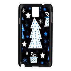 Blue Playful Xmas Samsung Galaxy Note 3 N9005 Case (black) by Valentinaart