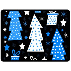 Blue Playful Xmas Double Sided Fleece Blanket (large)