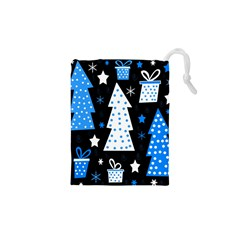 Blue Playful Xmas Drawstring Pouches (xs)  by Valentinaart