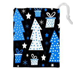 Blue Playful Xmas Drawstring Pouches (xxl) by Valentinaart