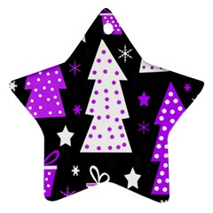 Purple Playful Xmas Ornament (star)  by Valentinaart