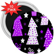 Purple Playful Xmas 3  Magnets (10 Pack)  by Valentinaart