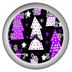 Purple Playful Xmas Wall Clocks (silver)  by Valentinaart