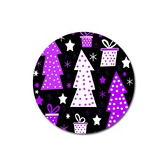 Purple Playful Xmas Magnet 3  (round) by Valentinaart