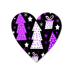 Purple Playful Xmas Heart Magnet by Valentinaart