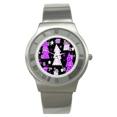 Purple Playful Xmas Stainless Steel Watch by Valentinaart