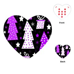 Purple Playful Xmas Playing Cards (heart)  by Valentinaart