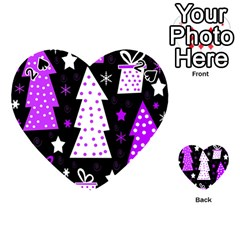 Purple Playful Xmas Playing Cards 54 (heart)  by Valentinaart