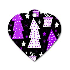 Purple Playful Xmas Dog Tag Heart (one Side) by Valentinaart