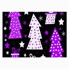 Purple Playful Xmas Large Glasses Cloth (2-side) by Valentinaart