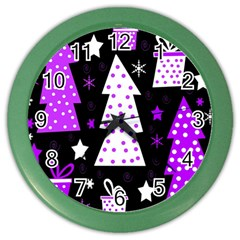 Purple Playful Xmas Color Wall Clocks by Valentinaart