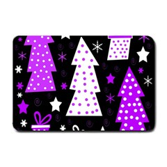 Purple Playful Xmas Small Doormat  by Valentinaart