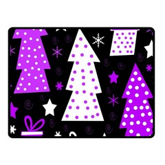Purple Playful Xmas Fleece Blanket (small) by Valentinaart