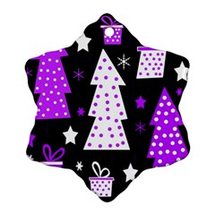 Purple Playful Xmas Snowflake Ornament (2 Side) by Valentinaart