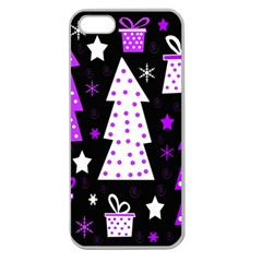 Purple Playful Xmas Apple Seamless Iphone 5 Case (clear) by Valentinaart