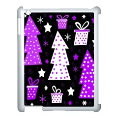 Purple Playful Xmas Apple Ipad 3/4 Case (white) by Valentinaart