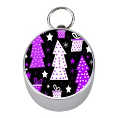Purple Playful Xmas Mini Silver Compasses by Valentinaart