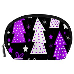 Purple Playful Xmas Accessory Pouches (large)  by Valentinaart