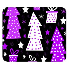 Purple Playful Xmas Double Sided Flano Blanket (small)  by Valentinaart