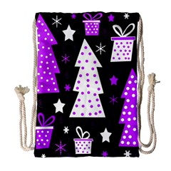 Purple Playful Xmas Drawstring Bag (large) by Valentinaart