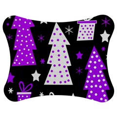 Purple Playful Xmas Jigsaw Puzzle Photo Stand (bow) by Valentinaart