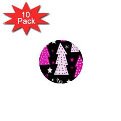 Pink Playful Xmas 1  Mini Buttons (10 Pack)  by Valentinaart