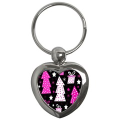 Pink Playful Xmas Key Chains (heart)  by Valentinaart