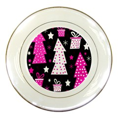 Pink Playful Xmas Porcelain Plates by Valentinaart