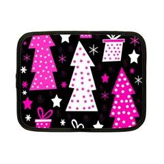 Pink Playful Xmas Netbook Case (small)  by Valentinaart