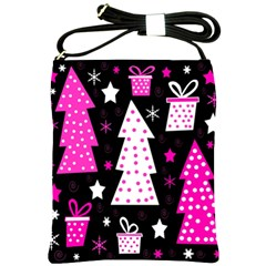 Pink Playful Xmas Shoulder Sling Bags by Valentinaart