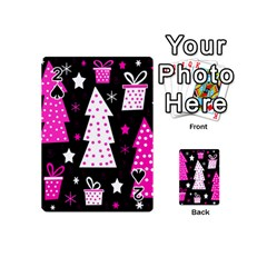 Pink Playful Xmas Playing Cards 54 (mini)  by Valentinaart