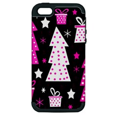 Pink Playful Xmas Apple Iphone 5 Hardshell Case (pc+silicone) by Valentinaart