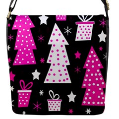 Pink Playful Xmas Flap Messenger Bag (s) by Valentinaart