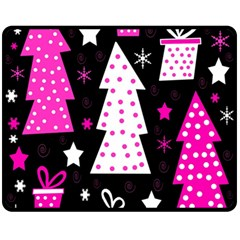 Pink Playful Xmas Double Sided Fleece Blanket (medium)  by Valentinaart