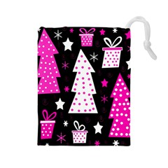 Pink Playful Xmas Drawstring Pouches (large)  by Valentinaart