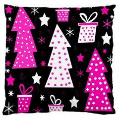 Pink Playful Xmas Large Flano Cushion Case (one Side) by Valentinaart
