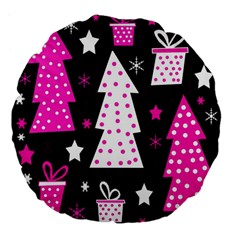 Pink Playful Xmas Large 18  Premium Flano Round Cushions by Valentinaart