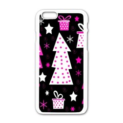 Pink Playful Xmas Apple Iphone 6/6s White Enamel Case by Valentinaart