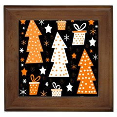 Orange Playful Xmas Framed Tiles by Valentinaart