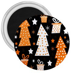 Orange Playful Xmas 3  Magnets