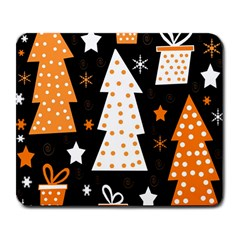 Orange Playful Xmas Large Mousepads by Valentinaart