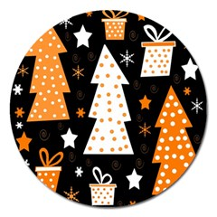 Orange Playful Xmas Magnet 5  (round) by Valentinaart