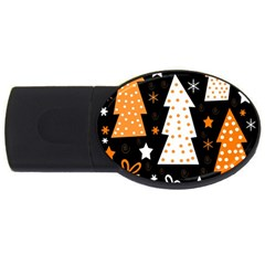 Orange Playful Xmas Usb Flash Drive Oval (4 Gb)  by Valentinaart