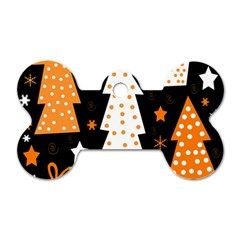 Orange Playful Xmas Dog Tag Bone (one Side) by Valentinaart