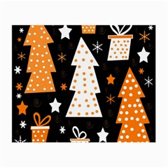 Orange Playful Xmas Small Glasses Cloth (2 Side) by Valentinaart