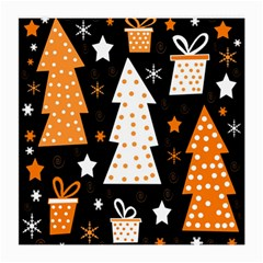 Orange Playful Xmas Medium Glasses Cloth (2 Side) by Valentinaart